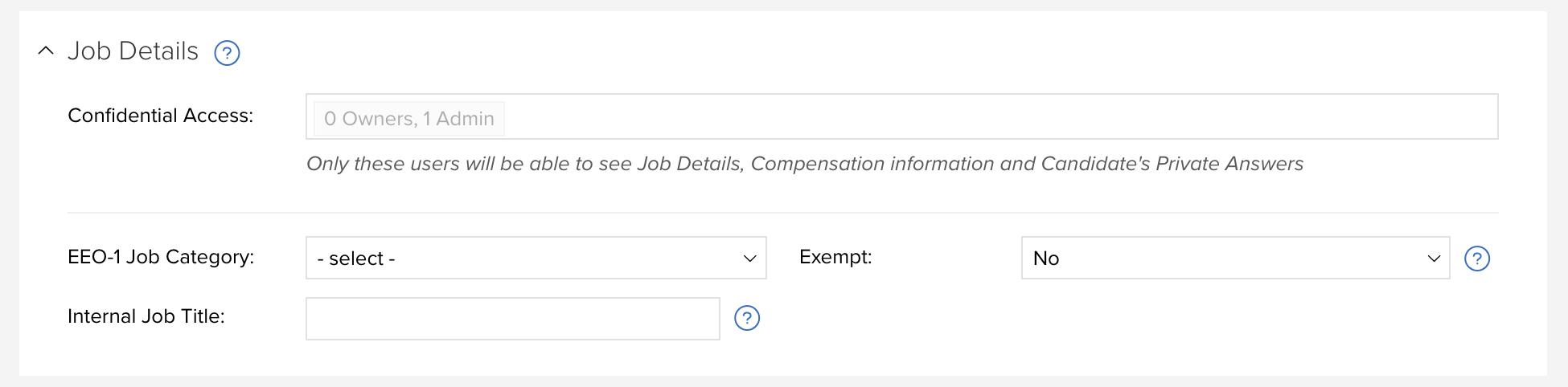 Job Details Area