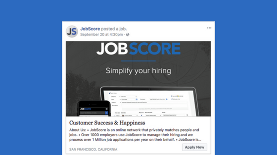 Job post on Facebook