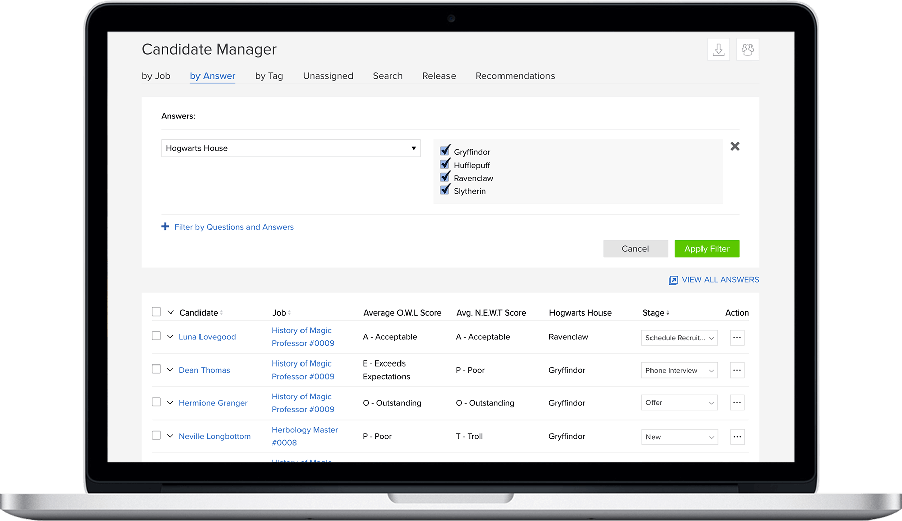 JobScore candidate manager dashboard to hire better