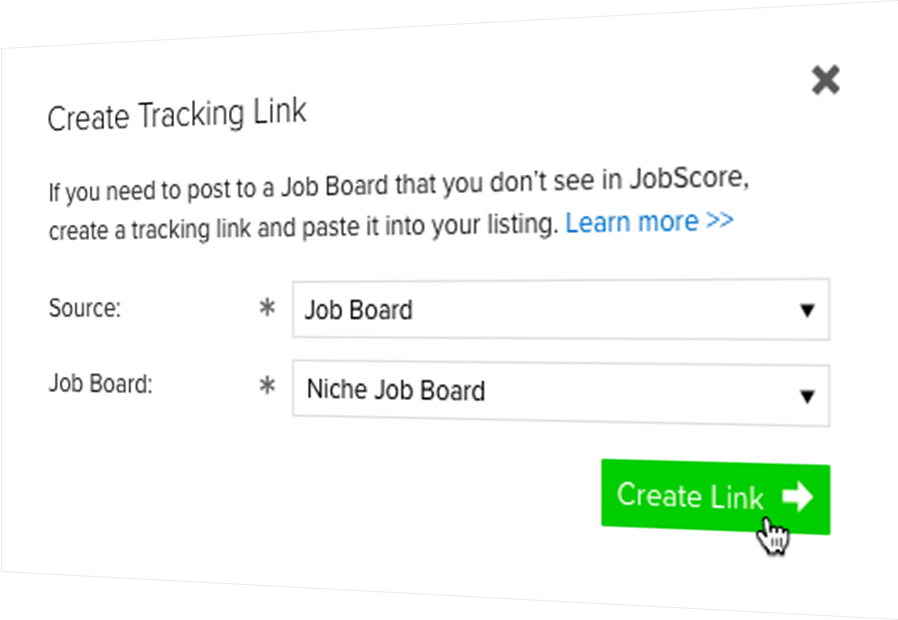 Creating a tracking link to post to a job board listing