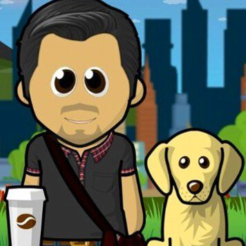 Cartoon bitmoji of a man with dark hair, a black cross shoulder bag, next to a dog and a cup of coffee in a black shirt with a red plaid collar.