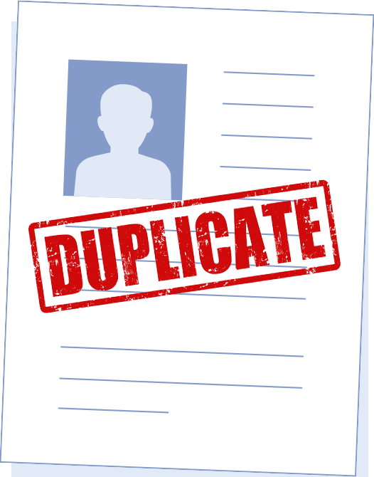 Piece of paper with the word duplicate representing candidate resume