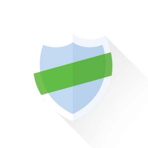 Shield with a green sash around it.