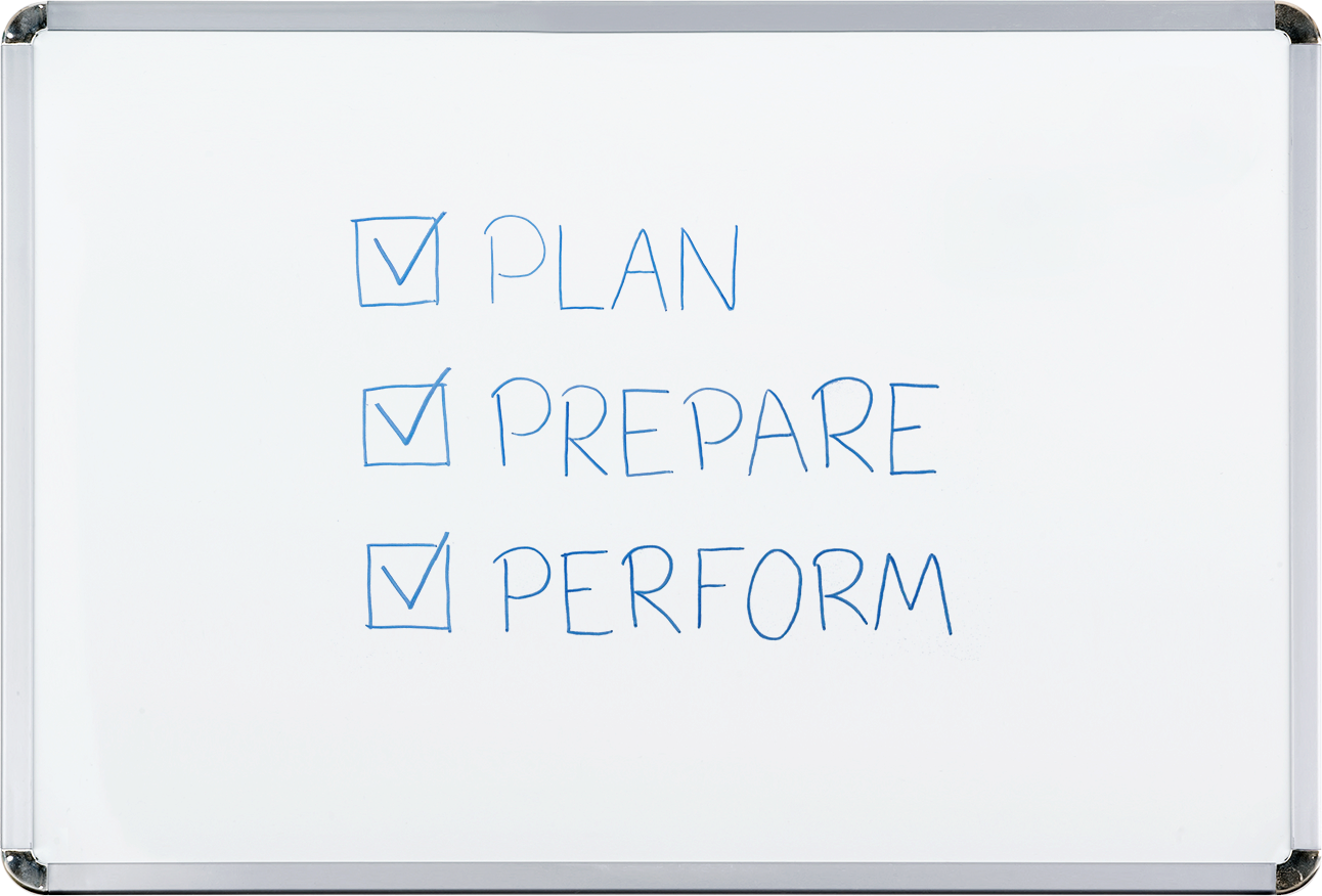 A whiteboard with the words, plan, prepare, and perform beside check boxes.