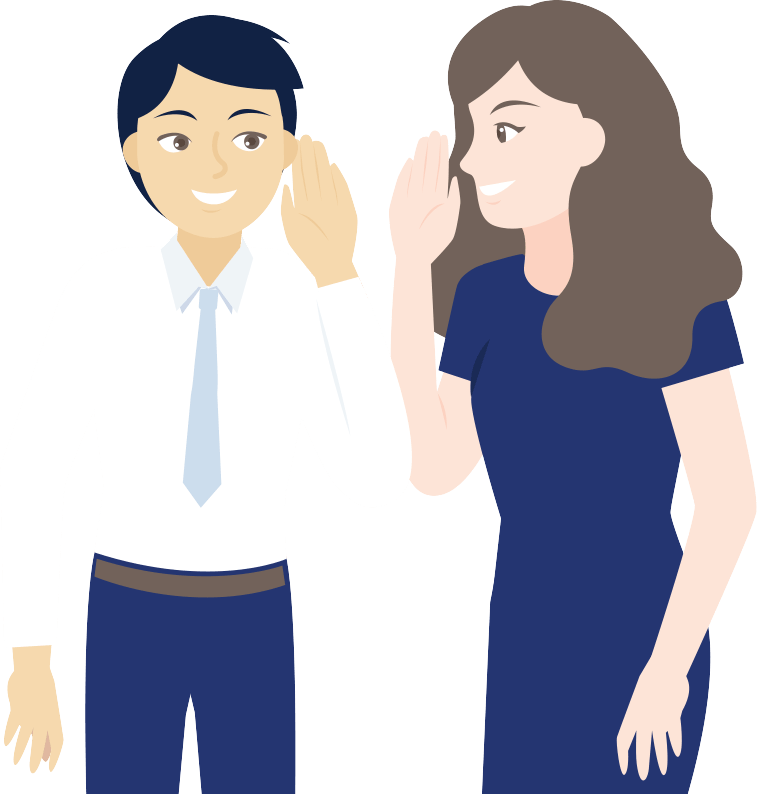 A woman sharing a secret with a man | JobScore Top Applicant Tracking System