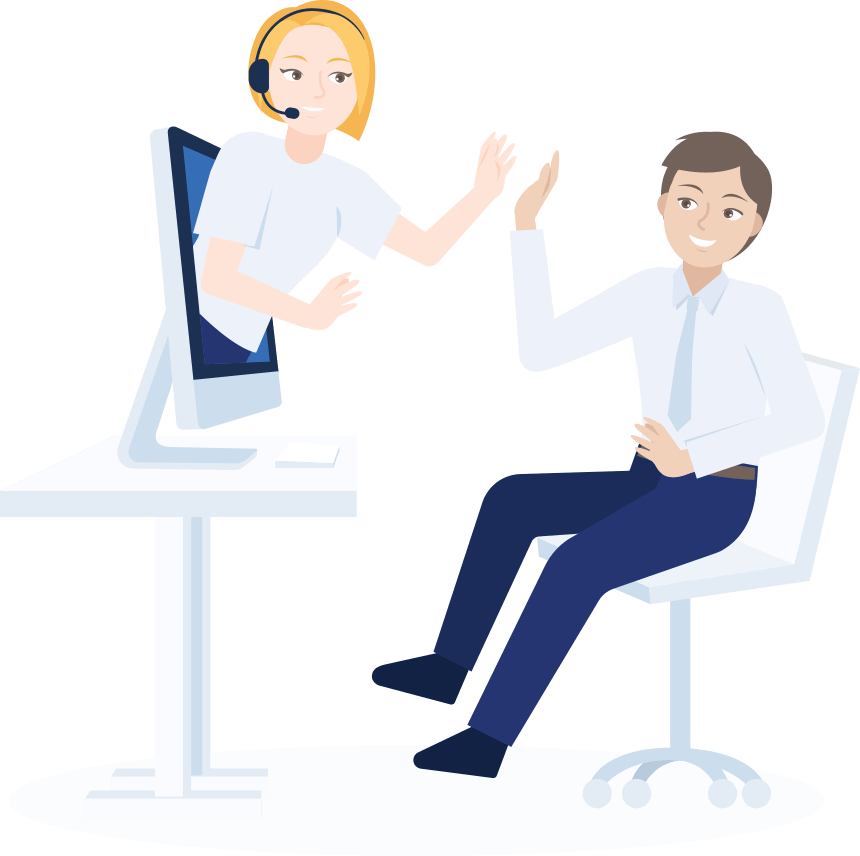 A woman coming out of a computer high fiving a man sitting at a desk | JobScore Applicant Tracking System