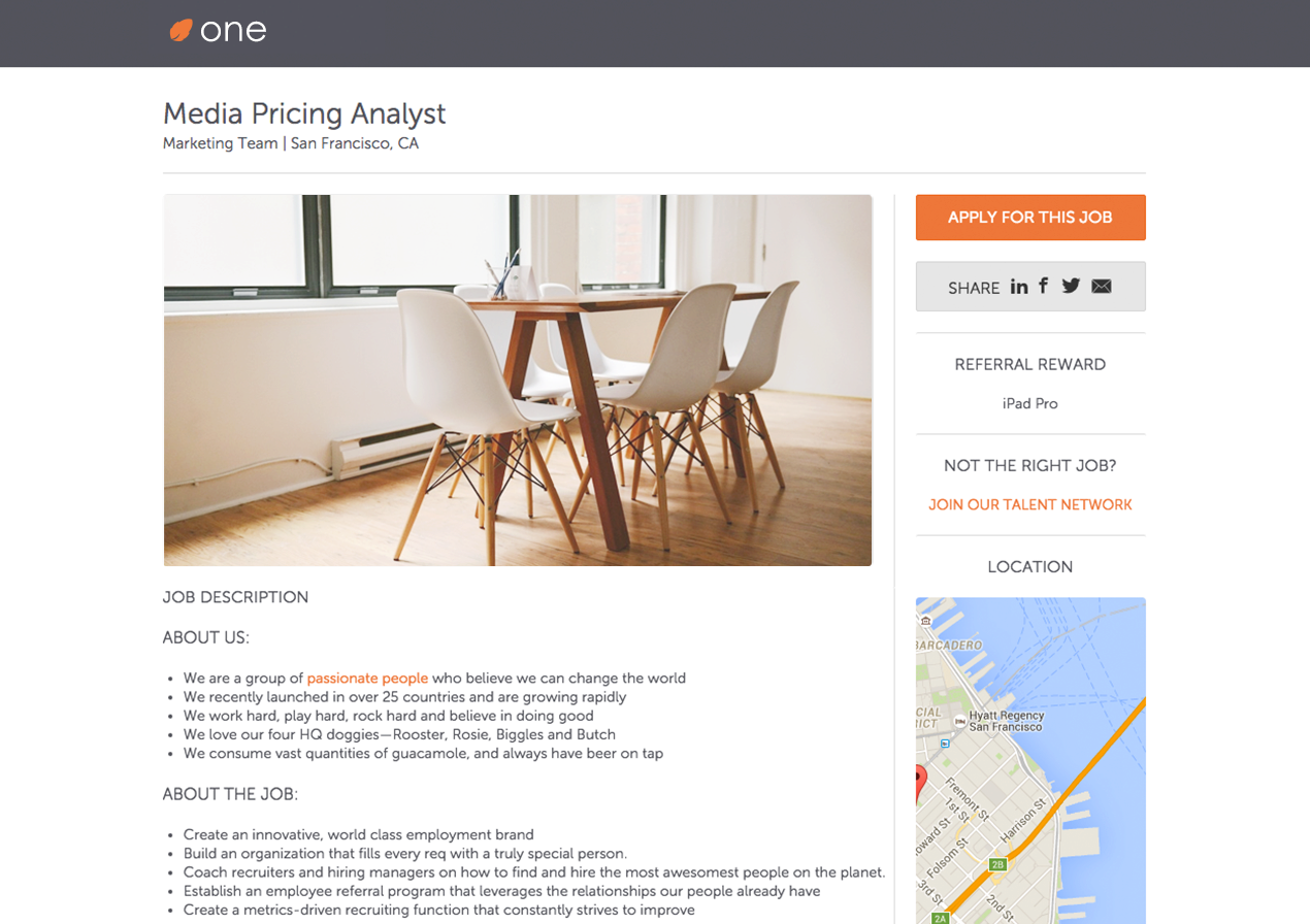 A minimalistic media pricing analyst career page example, with modern employer branding.