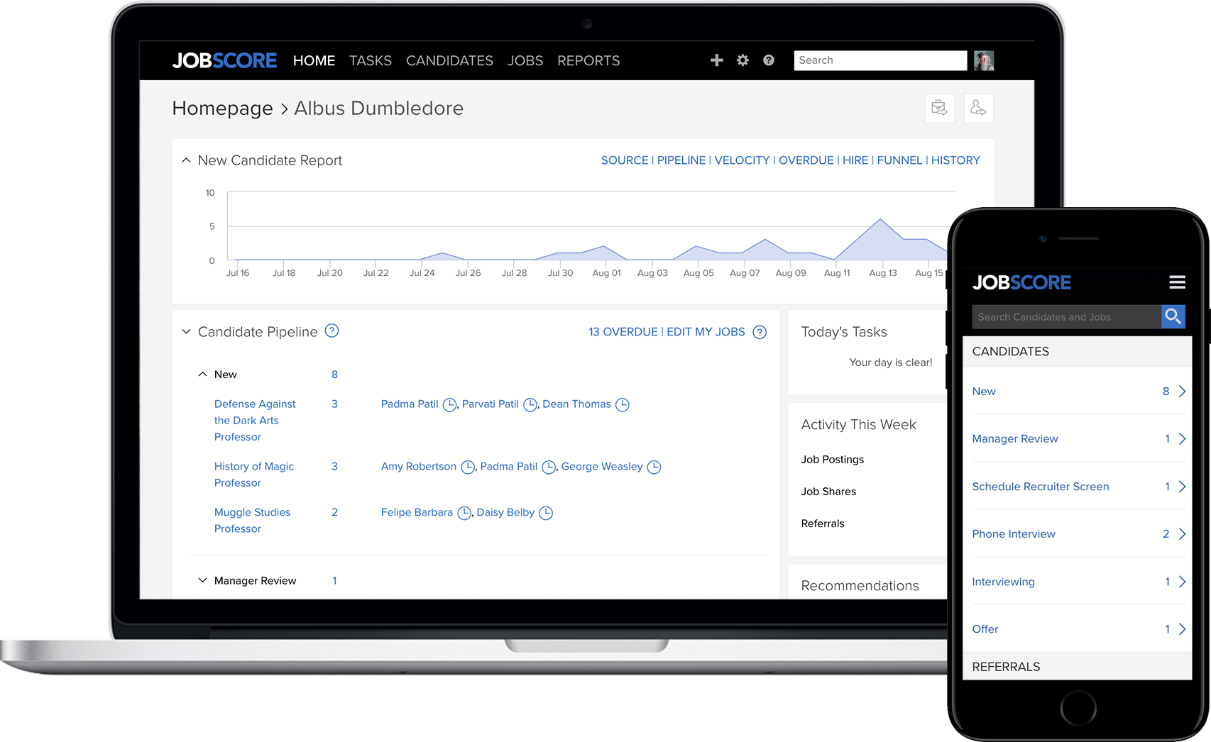 Personal recruitment dashboard on desktop and phone.