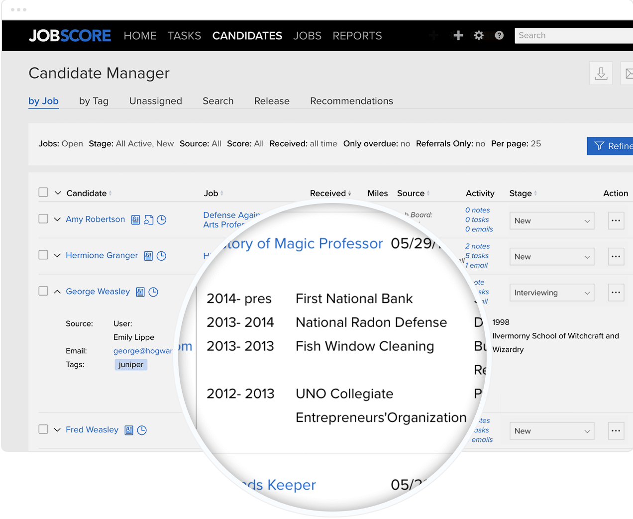 Magnified candidate resume overview using JobScore's Candidate Manager software.