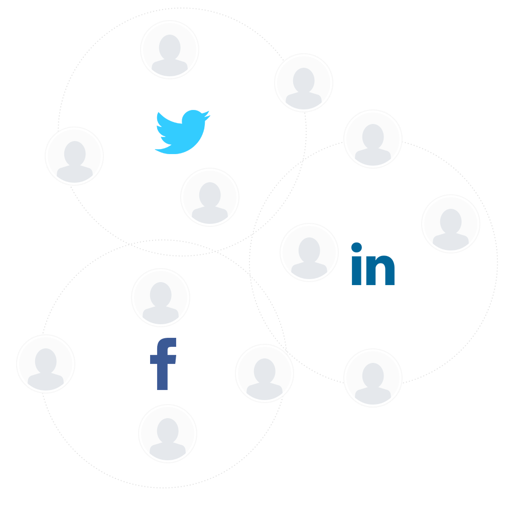People icons in circles around, Twitter, Facebook and LinkedIn logos to promote social recruiting.